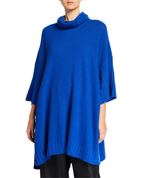 Image 1 of 1: 3/4-Sleeve Roll-Neck Poncho Sweater