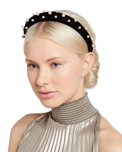 Sascha Velvet Padded Headband w/ Pearlescent Beading