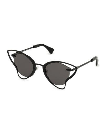 Semi-Rimless Cutout Butterfly Sunglasses