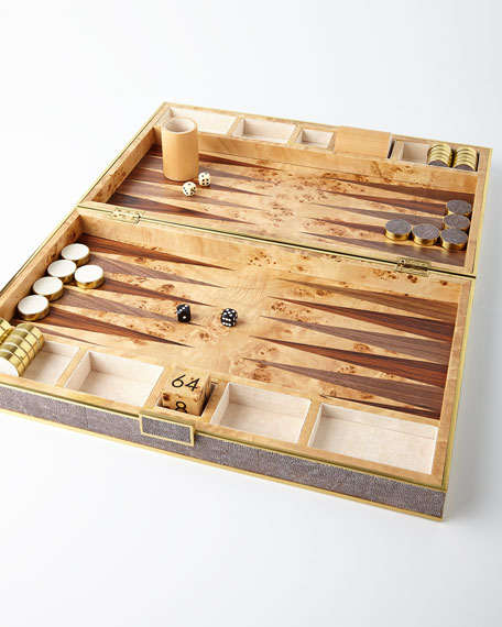 Chocolate Faux-Shagreen Backgammon Set