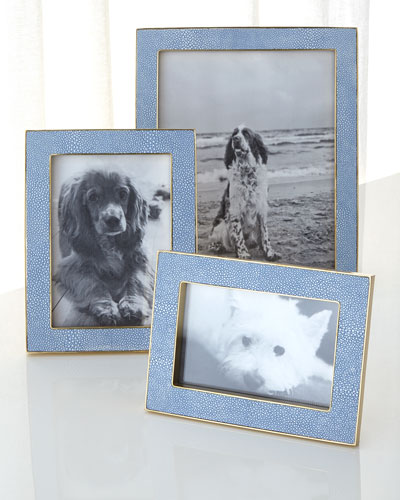 Blue Faux-Shagreen 5 x 7 Picture Frame