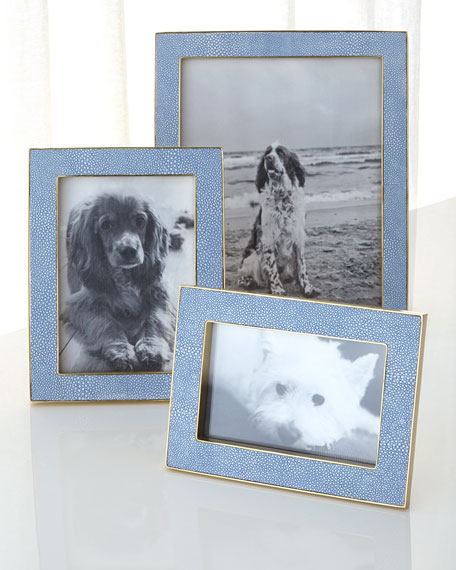 "Blue Faux-Shagreen 5"" x 7"" Picture Frame"
