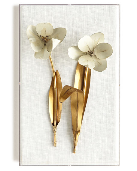 Original Gilded Tulip on White Linen