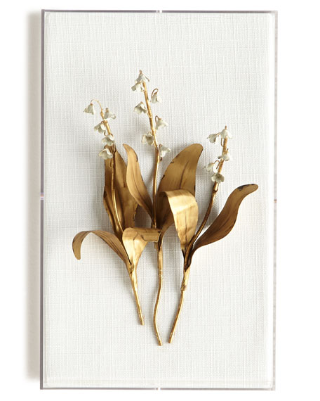 Original Gilded Lily of the Valley on Linen