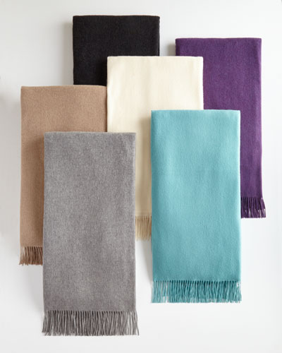 Woven Cashmere Throw with Monogram