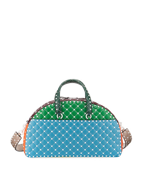 Rockstud Quilted Zip-Around Bowling Bag