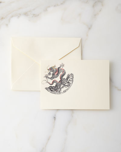 Hand-Engraved Dragon Cards with Envelopes  Set of 10
