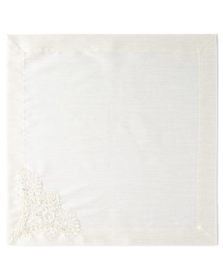 Hand-Beaded Pearls & Embroidery Silk Napkin