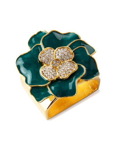 Forest Green 24K Gold Flower Napkin Ring  Set of 4