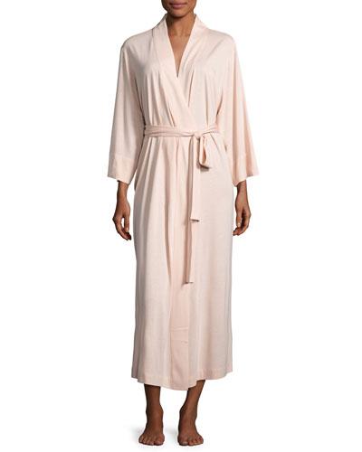 Shangri-La Jersey Long Robe, Dusty Deco Pink