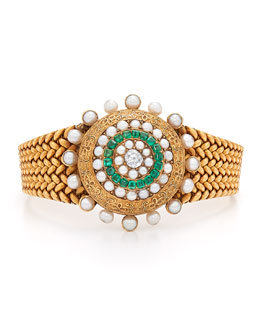Estate Antique Emerald, Pearl & Diamond Bracelet, c. 1890