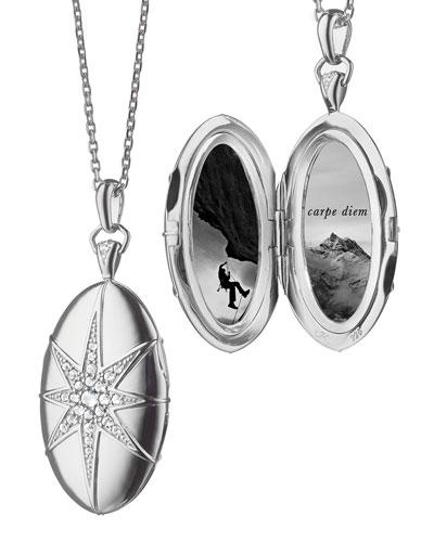 White Sapphire Star Locket Necklace
