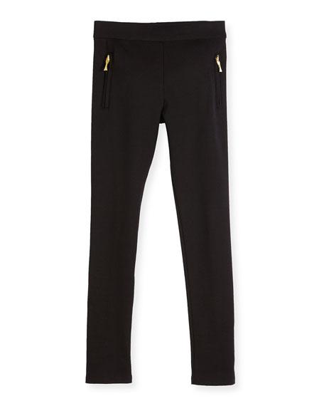 zip-trim ponte leggings, black, size 7-14