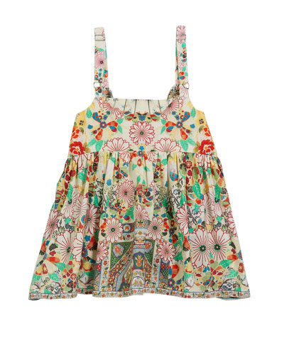 Printed Button-Front Sleeveless Top  Size 4-10
