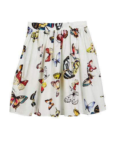 Butterfly-Print Poplin Skirt  Size 4-6