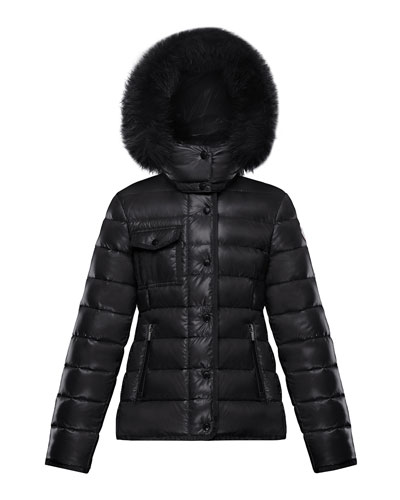 Armoise Quilted Nylon Puffer Jacket w/ Fur Trim  Size 8-14