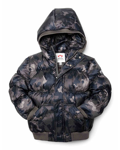 Puffy Camo Hooded Coat  Size 2-10