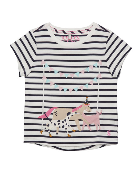 Girl's Astra Striped Party Animals Tee, Size 3-12