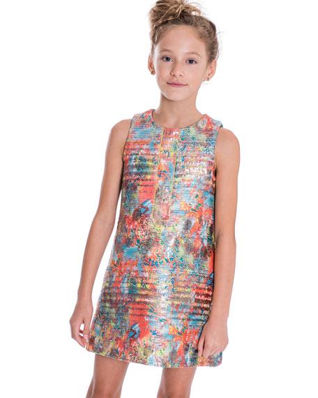 Sienna Garden Woven Metallic Jacquard Shift Dress, Size 7-16