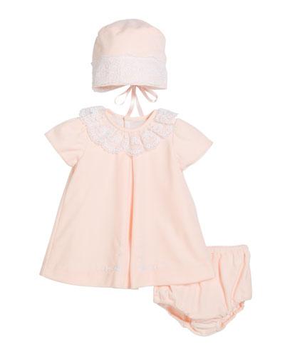 Velour Lace Dress w/ Hat & Diaper Cover  Size 3-24 Months