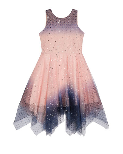 Girl's Odette Ombre Tulle Scattered Star Dress  Size 4-6X