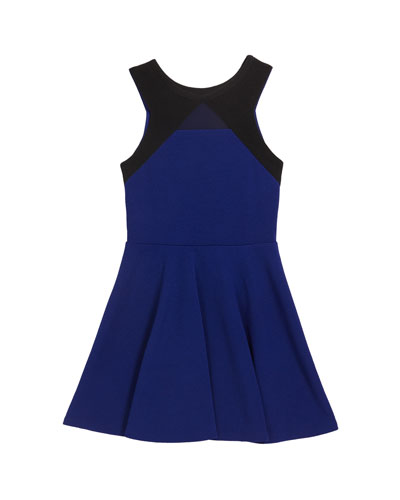 Girl's The Carly Mesh Trim Two-Tone Dress  Size S-XL