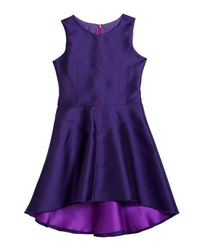 Girl's Violetta Sleeveless High-Low Top Stitch Panel Dress  Size 7-14