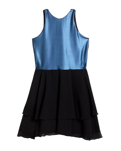 Girl's Pleather Halter Dress w/ Tiered Chiffon Skirt  Size 7-16