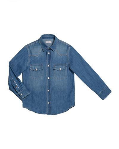Boy's Long-Sleeve Button-Down Denim Shirt  Size 8-10