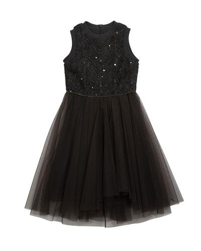 Girl's Chevron Paillette Sleeveless Tulle Dress  Size 8-10
