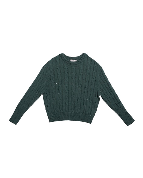 Girl's Cashmere Cable Knit Sweater w/ Paillettes, Size 12