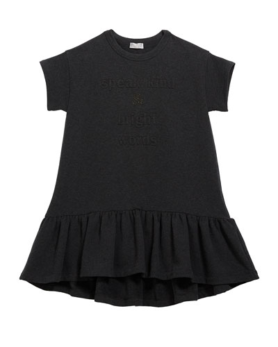 Girl's Ruffle-Hem Jersey Dress w/ Monili & Wording  Size 8-10