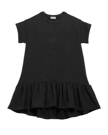 Girl's Ruffle-Hem Jersey Dress w/ Monili & Wording, Size 8-10