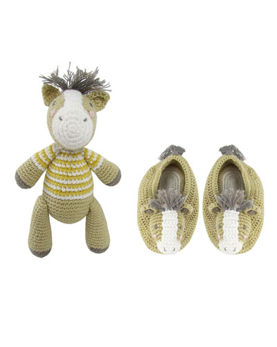 Crochet Horse Rattle Doll w/ Matching Booties  Baby