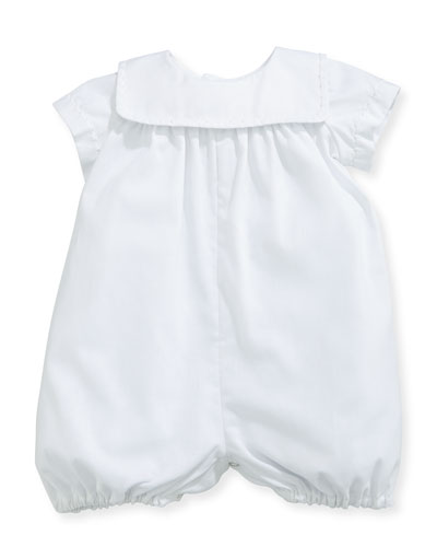 Charming Batiste Romper w/ Embroidered Collar  White  Size 3-24 Months