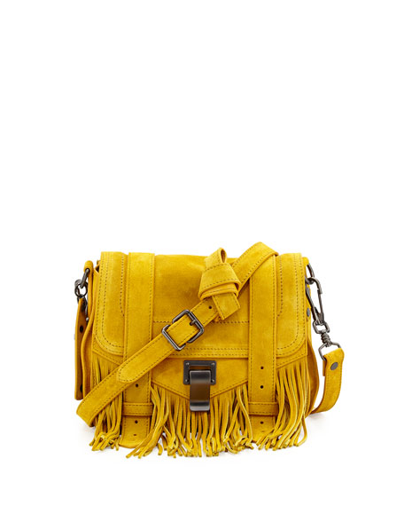 PS1 Suede Fringe Pouch Crossbody Bag, Ochre