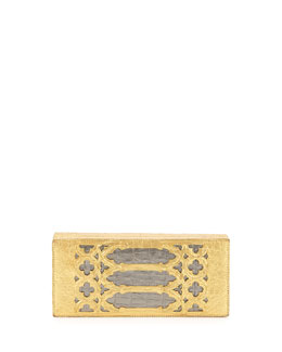 Venetian Laser-Cut Crocodile Box Clutch, Gold