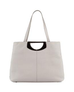 Passage Grained Leather Tote Bag, Gray