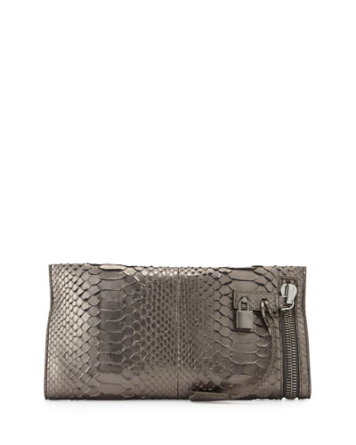 Alix Python East-West Zip & Padlock Clutch Bag