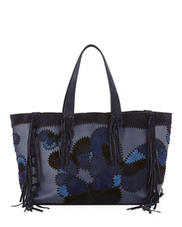 C-Rockee Butterfly Embroidered Fringe Tote Bag