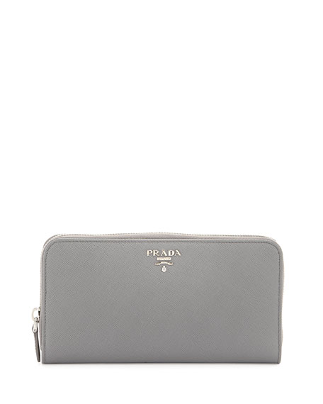 prada saffiano mini zip crossbody bag black - Prada Saffiano Zip-Around Continental Wallet