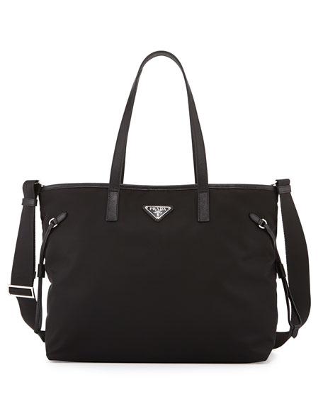Nylon East-West Snap-Top Tote Bag, Black (Nero)
