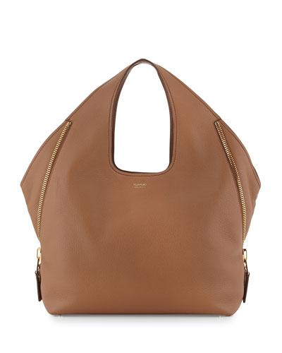 Jennifer Side-Zip Leather Hobo Bag