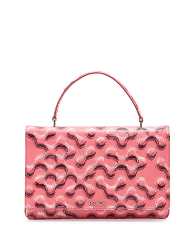 Molecule-Print Saffiano Top-Handle Bag