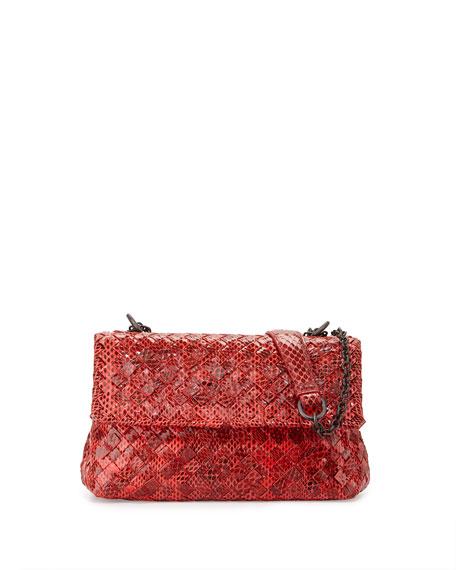 Olimpia Mini Tobu Snakeskin Crossbody Bag, Cobalt