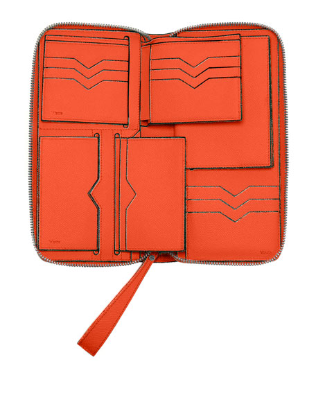 Leather Document Holder w/Card Case, Lobster Orange