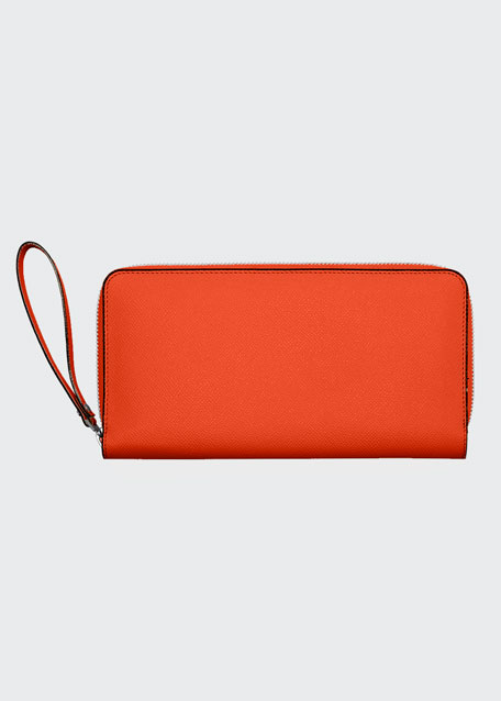 Leather Document Holder w/Card Case, Lobster Orange