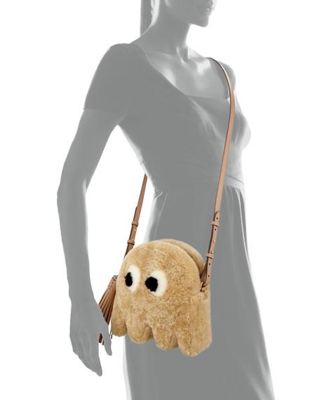 Shearling Fur Ghost Crossbody Bag, Natural