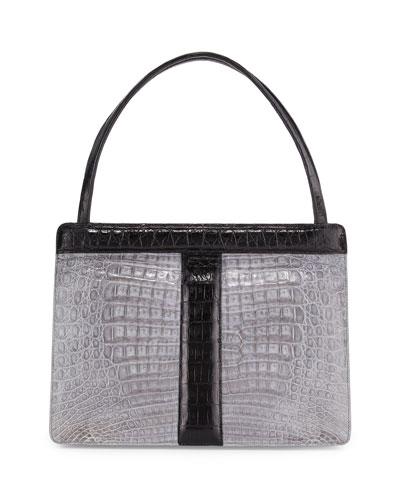 Top-Handle Crocodile Frame Bag