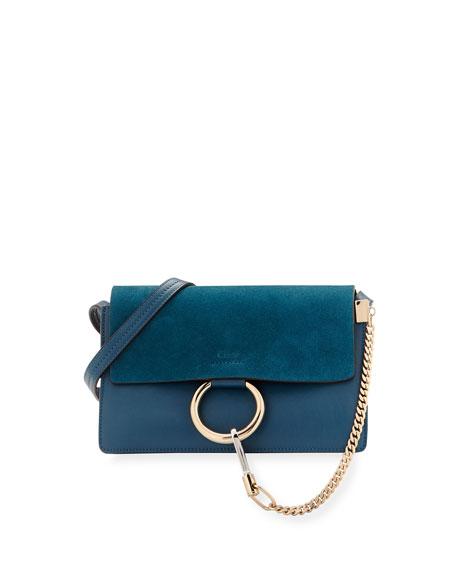 789ffa866c Faye Small Suede Shoulder Bag Full Blue/Mustard